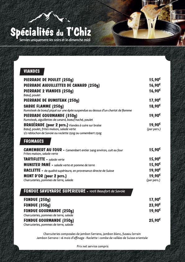 Carte spécialités tchiz