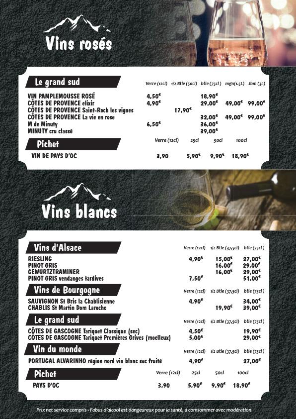 Carte vin blanc rosé tchiz